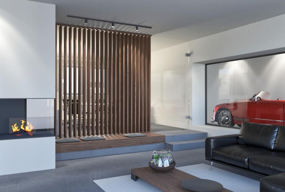 Raumteiler Nussbaum | Innenarchitektur Wohnraum Gestaltung